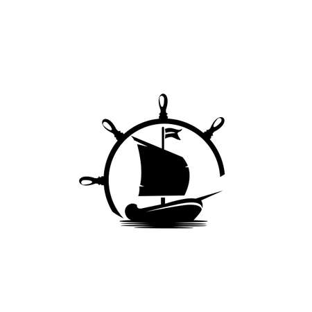 Ship logo, design logo concept of shipping freight services, Old trading ship from wood strongly sail explore the ocean 向量圖像