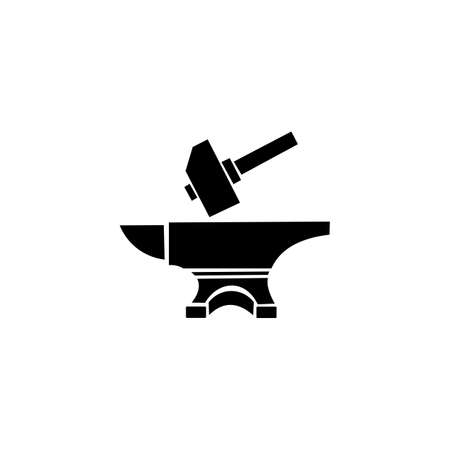 Black hammer on anvil on a white background, blacksmith icon for your design. Stock Illustratie