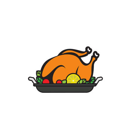 Grilled chicken on a platter. Restaurant Shop Design Element in Vintage Style for icon , Label, Badge and other design. 向量圖像
