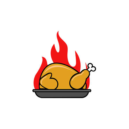 hot chicken fire label template. Restaurant Shop Design Element in Vintage Style for icon  Label, Badge and other design. 向量圖像