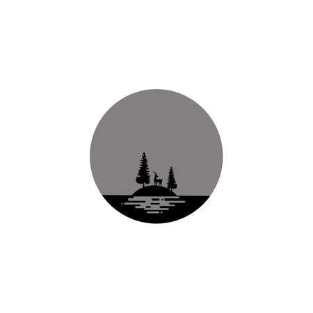 camping icon emblem vector illustration. deer hunter icon. Vector illustration on white background.