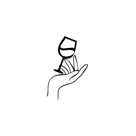 Hand Holding Glass Of Red Wine. Design template for a wine menu with wineglass.