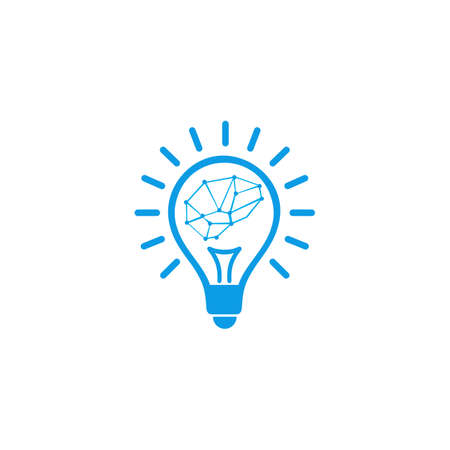Creative brain Idea concept, knowledge innovation, brain inside bulb, icon light solution thinking,