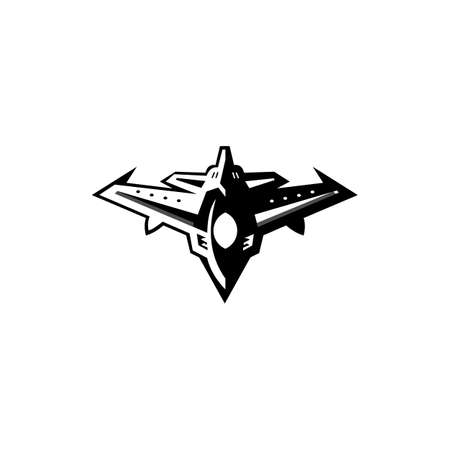 Jet fighter icon, Flight symbol that can be used for any platform and purpose, Template isolated on white.
