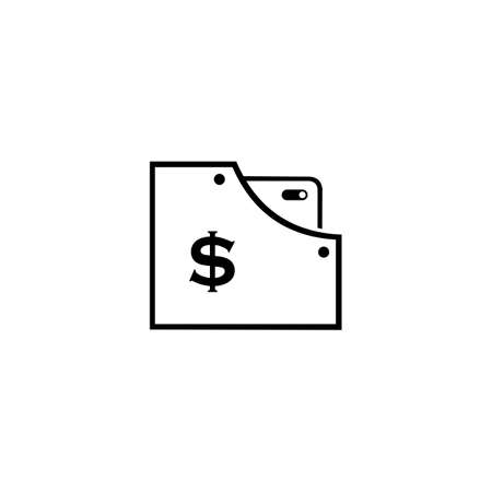 Wallet Flat Design Line Vector. Idea of fund savings, cash earnings, financial success, getting wealth, salary income icon isolated on white Illusztráció