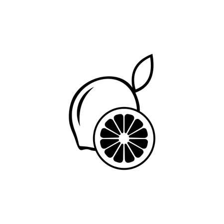 Illustration of lemon. Slice of lemon. Fresh lemon fruits on summer season.