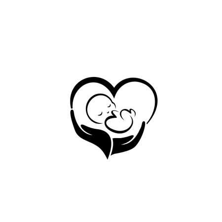 Child care logo. Baby logo. Vector illustration on white background.