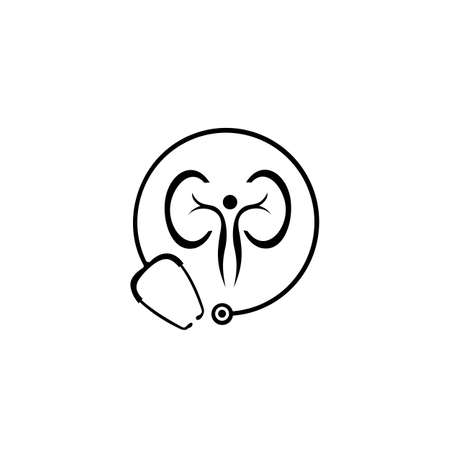 kidneys care logo. Medical concept. Health awareness promotional poster. Vector