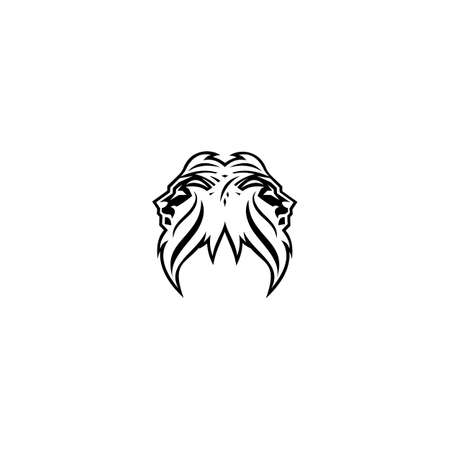 illustration of the logo of the head of a black and white lion, king of lions, a wild animal, with a white background