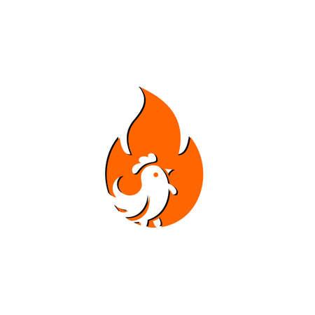 Hot Spicy Chicken Logo Design, Design element for poster, emblem, sign, Vector illustration