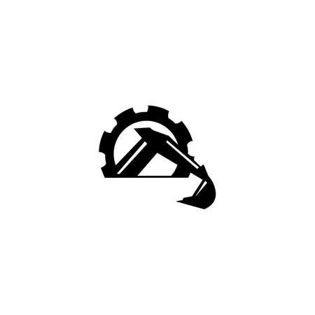 Excavator Vector Logo Template. Heavy equipment logo vector for construction company.
