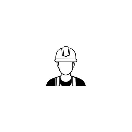 Miner in a helmet logo. Vector illustration on white background.