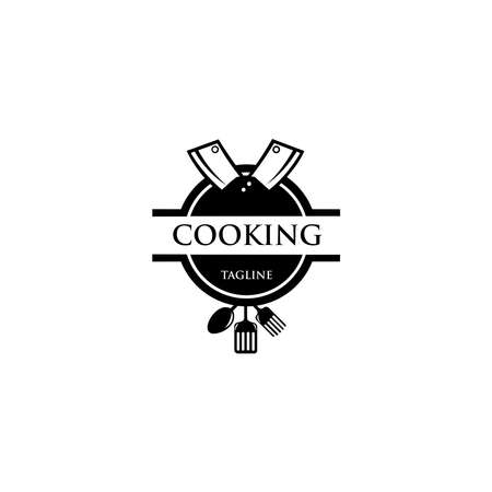 Cooking logo. Icon or symbol for design menu restaurant, cooking club, food studio or home cooking, Template logo with silhouette cutlery.