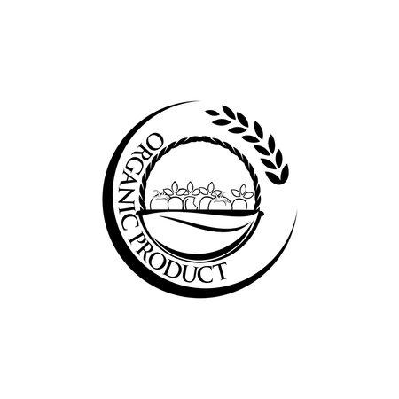 Organic eco vegetarian food Logo design vector template, isolated on white, vector illustration