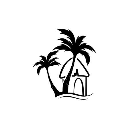 Tropical bungalow on island in ocean. Balinese house. Flat vector design