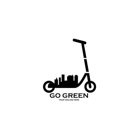 Eco transport. Vector scooter icon design on white background