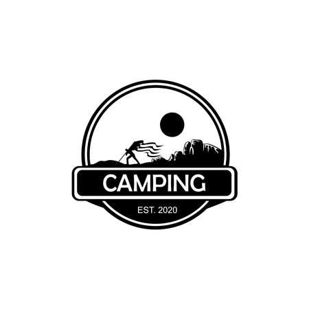 Backpacker, hiker, traveller or explorer standing, holding flag. adventure and outdoor.