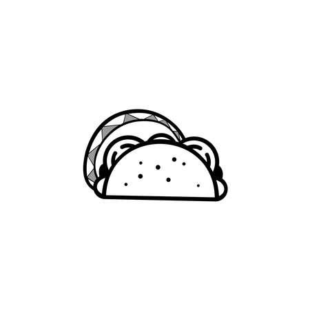 Fast food Taco icon, Label for menu design restaurant or cafe Ilustración de vector
