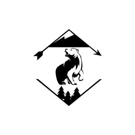 mountain and bear illustration, Outdoor adventure . outdoor adventure logo design inspiration