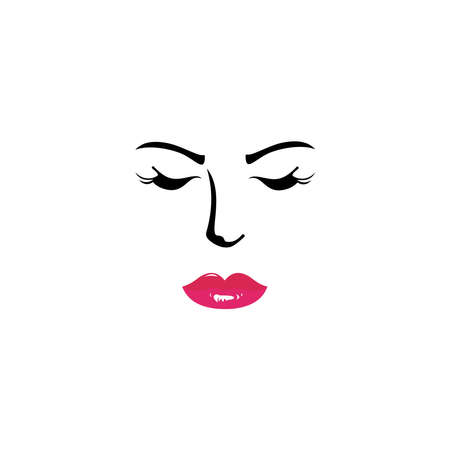 Beauty logo with white background, Beauty salon cosmetics spa hair Logotype concept icon.