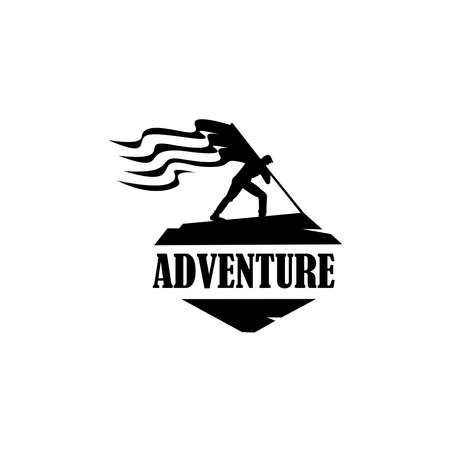 Backpacker, hiker, traveller or explorer standing, holding flag. adventure and outdoor.