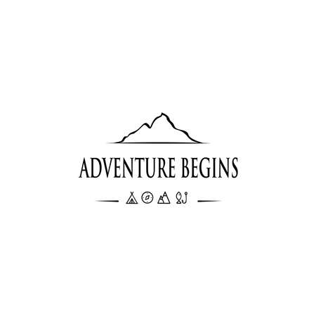 Outdoor logo design template.Mountaineering, Hunting. Outdoor recreation, adventure in the mountains. 矢量图像