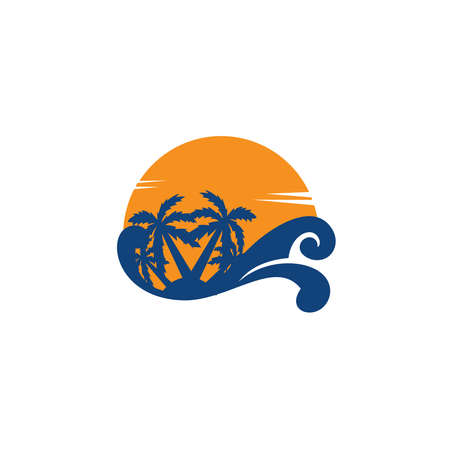 Tropical sunset. Vector Summer Time Holiday typographic illustration 向量圖像