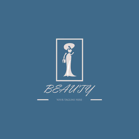 Beauty logo with blue background, Beauty salon cosmetics spa hair Logotype concept icon.