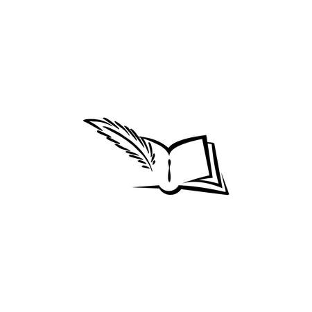 Book with feather, lawsuit sign or crime punishment badge, Wisdom or prosecutor decision theme, court logo.