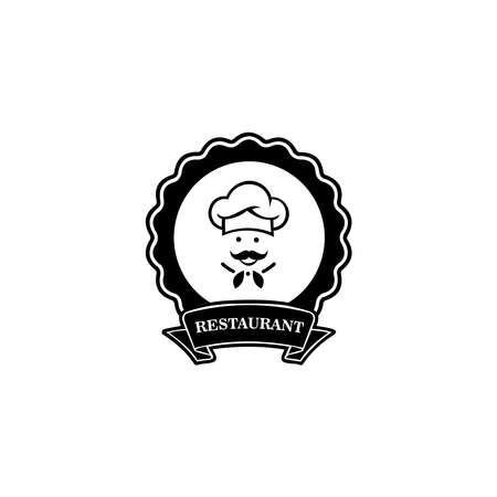 Chef in a cooking hat vector . Icon or symbol for design menu restaurant, cooking club, food studio or home cooking. 向量圖像