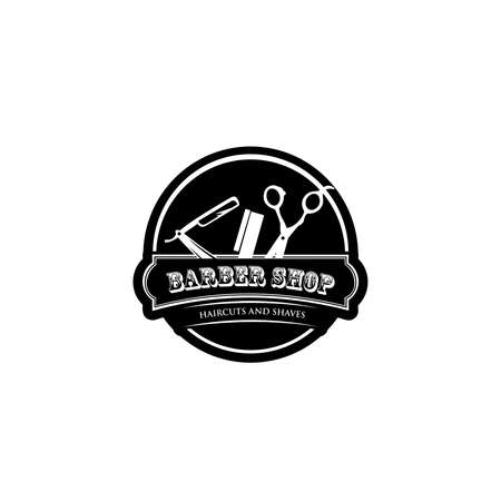 the hairdresser, black and white for a barbershop,Retro printing for haircut salons, t-shirts, typography, Vector graphics template 矢量图像