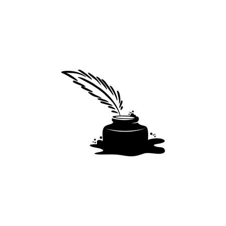 quill icon, Ink bottle and quill pen vector design, 向量圖像