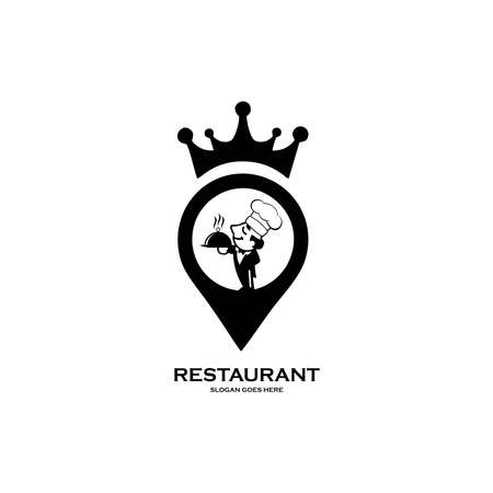 Chef in a cooking hat vector logo. Icon or symbol for design menu restaurant, cooking club, food studio or home cooking.