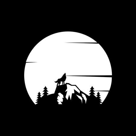 Wolf Logo Design Template. wolf standing on the hill with a panoramic view of mountains