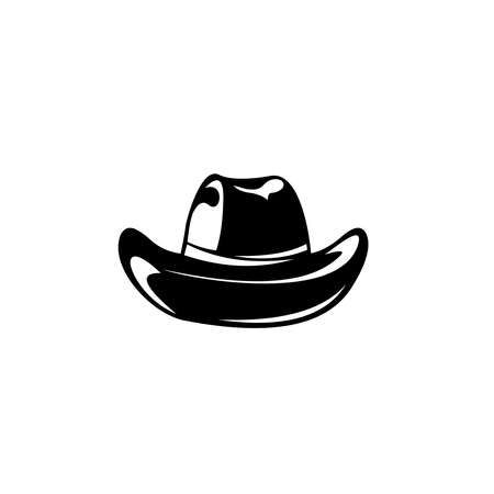 Cowboy hat icon, Retro Hat, Emblem design on white background
