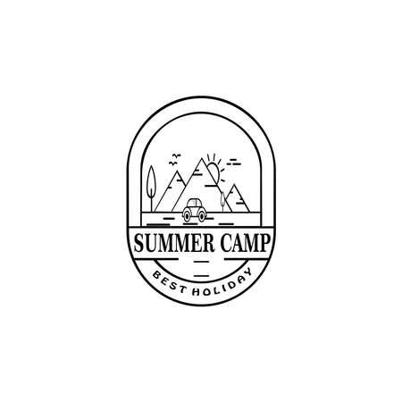 Retro summer camp badge graphic logo emblem design. adventure emblem, badge, design elements, logotype template. vector illustration