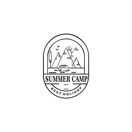 Retro summer camp badge graphic emblem design. adventure emblem, badge, design elements, logotype template. vector illustration