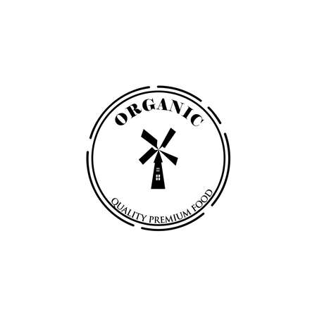 Farm product logo or symbol. Agriculture, agribusiness, village, mill icon.