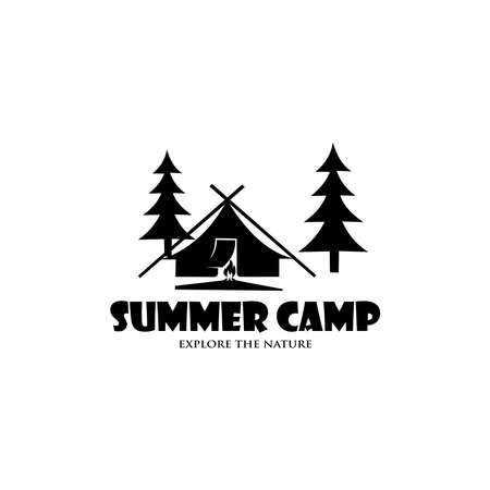 Retro summer camp badge graphic  emblem design. adventure emblem, badge, design elements,  template. vector illustration