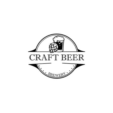 Beer hop logo .label, badge for bar, beer festival, brewery. Isolated on white background.