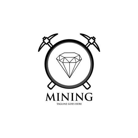 Diamond Mining Logo, Simple Modern Flat Logo. black and white vector illustration 向量圖像