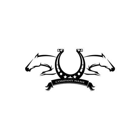 Horse logo design. Stylish graphic template design for company, farm, race. Vector illustration 向量圖像