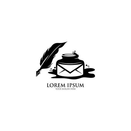 Ink and Quill icon. Feather, elegant pen, law firm, lawyer. Can be used in web and mobile. 向量圖像