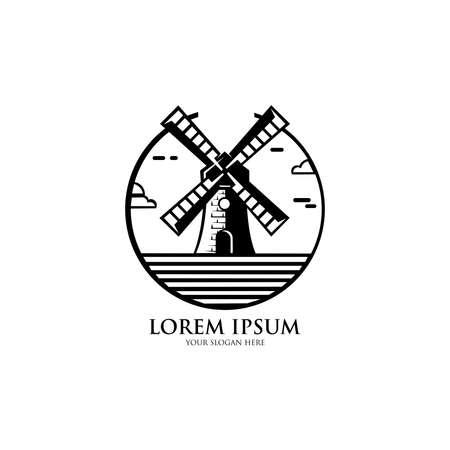 Windmill Logo Design. abel, Badge and other design. Bakery Shop retro vector illustration.