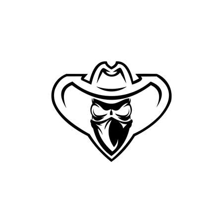 Cowboy with Scarf Mask illustration. Cowboy hat and scarf. 向量圖像