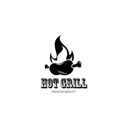 Hot Grill  Templates. BBQ  . Trendy simple  design. Vector illustration 矢量图像