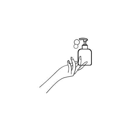 Hands using hand sanitizer gel pump dispenser vector illustration. Moisturizing sanitizer. Disinfection, hygiene, skin care concept. Vector illustration in flat style