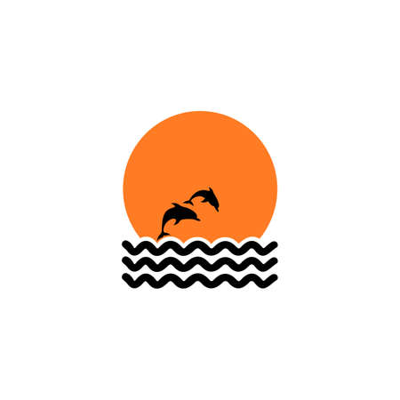 Silhouette of two dolphins jumping out of water in the ocean.