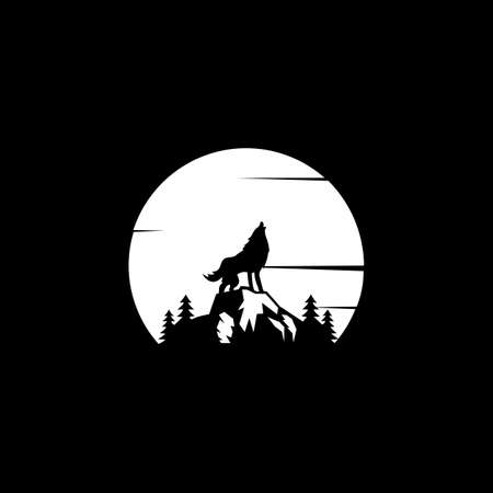 Wolf Howling in the Moonlight. Wild animal at night graphic design illustration.