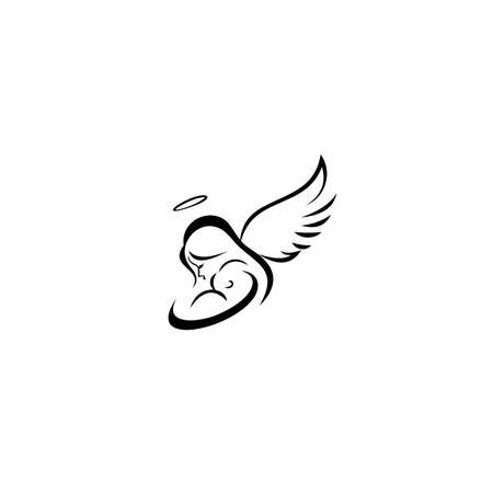 Mother with angel wing holds a small child in her arms. mama love baby kids, guardian mom